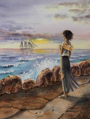 Girl And The Ocean Sailing Ship Poster by Irina Sztukowski