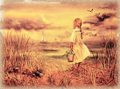 Girl And The Ocean Vintage Art Poster by Irina Sztukowski