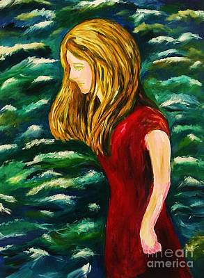 Girl In Red And Sea Poster by Esther Rowden