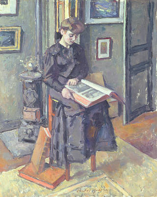 Girl Reading A Book Poster by Charles Francois Prosper Guerin