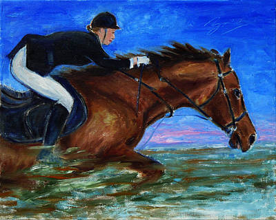 Girl Riding Her Horse II Poster by Xueling Zou