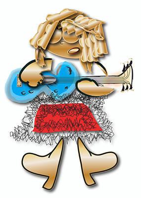 Girl Rocker 6 String Guitar Poster by Marvin Blaine