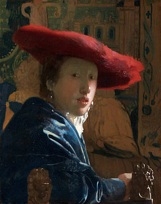 Girl With A Red Hat Poster by Johannes Vermeer