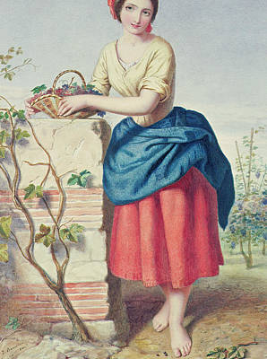 Girl With Basket Of Grapes Poster by Jules I Bouvier