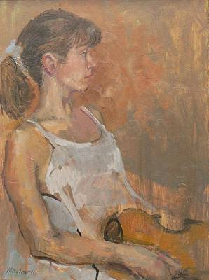 Girl With Violin, 2007 Oil On Canvas Poster by Pat Maclaurin