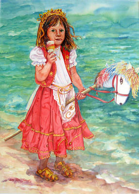 Girl With Wood Horse Poster by Estela Robles