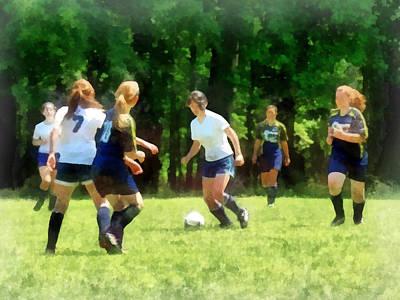 Girls Playing Soccer Poster by Susan Savad
