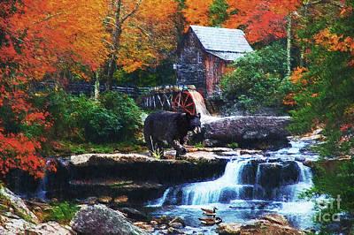 Glade Creek Grist Mill Poster by Lianne Schneider