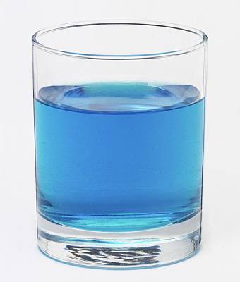 Glass Filled With A Blue Liquid Poster by Dorling Kindersley/uig