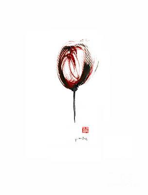 Glass Of Wine Red Purple Black Tulip Flower Burgundy Scarlet Bordeaux Cabernet Watercolors Painting Poster by Johana Szmerdt