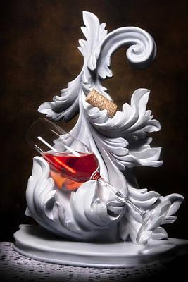 Glass Of Wine With Cork Still Life Poster by Tom Mc Nemar