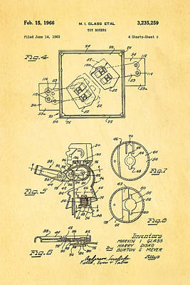 Glass Rock Em Sock Em Robots Toy Patent Art 2 1966 Poster by Ian Monk