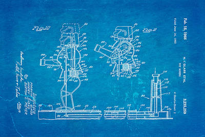 Glass Rock Em Sock Em Robots Toy Patent Art 3 1966 Blueprint Poster by Ian Monk