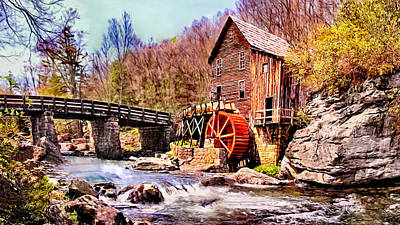 Glen Creek Grist Mill Painting Poster by Bob and Nadine Johnston