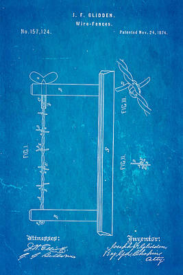 Glidden Barbed Wire Patent Art 1874 Blueprint Poster by Ian Monk