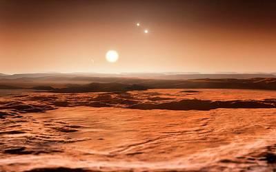Gliese 667 Triple-star System Poster by Eso/m. Kornmesser