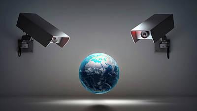 Globe With Security Cameras Poster by Andrzej Wojcicki