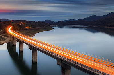 Dusk Poster featuring the photograph Glowing Bridge by Evgeni Dinev