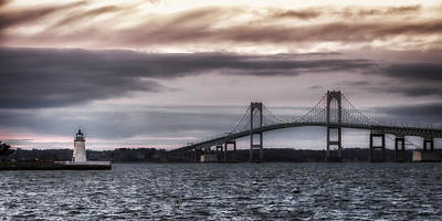 Goat Island Lighthouse And Newport Bridge Poster by Joan Carroll