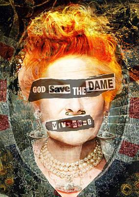 God Save The Dame - Vivienne Westwood Portrait Poster by Big Fat Arts
