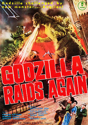 Godzilla Raids Again, Aka Gojira No Poster by Everett