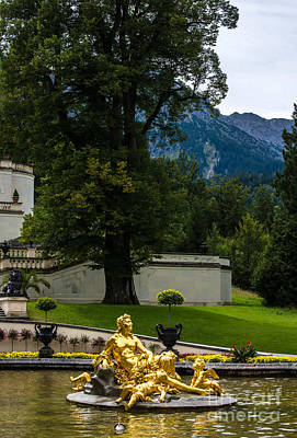 Gold Fountain - Linderhof Palace - Germany Poster by Gary Whitton