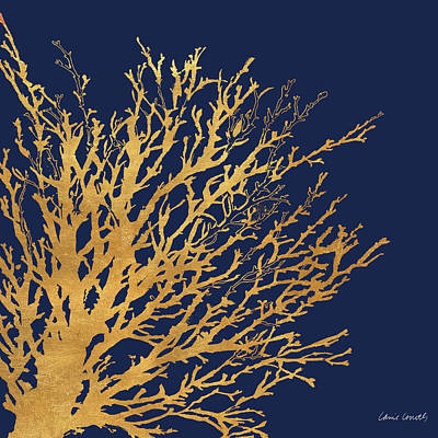 Gold Medley On Navy Poster by Lanie Loreth