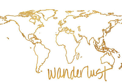 Gold Wanderlust Poster by South Social Studio