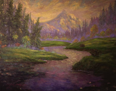 Golden Dawn At Mt. Hood Poster by Glenna McRae