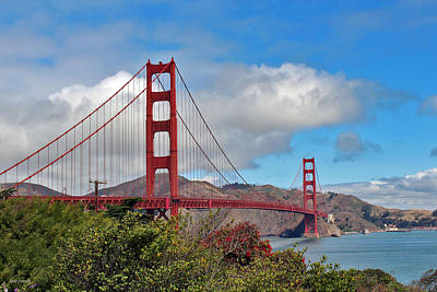 Golden Gate Bridge Poster by Linda Sannuti