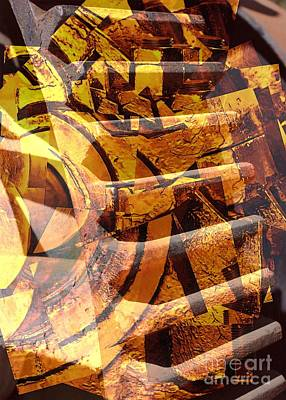 Golden Gears Abstract Poster by Carol Groenen
