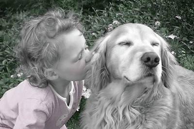 Golden Retriever Dog Kiss From A Little Girl Poster by Jennie Marie Schell