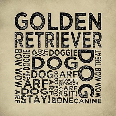 Golden Retriever Typography Poster by Flo Karp