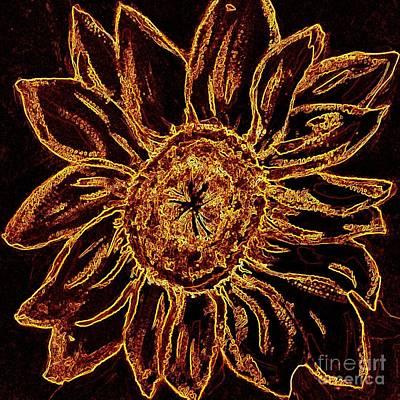 Golden Sunflower - Abstract Art Poster by Carol Groenen