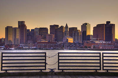 Golden Sunset Over Boston Poster by Joann Vitali
