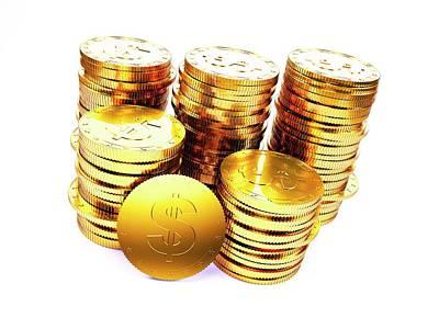 Golden Us Dollar Coins Poster by Sebastian Kaulitzki