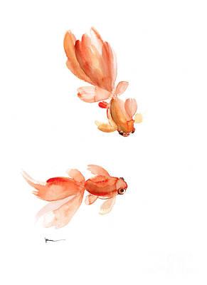 Goldfish Art Print Watercolor Painting Poster by Joanna Szmerdt