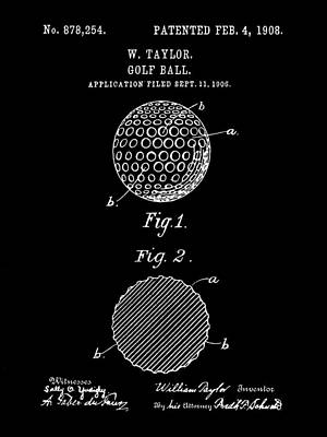 Golf Ball Patent 1906 - Black Poster by Stephen Younts
