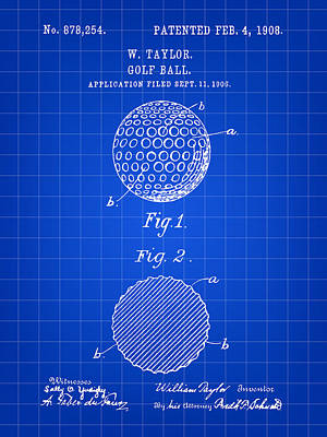 Golf Ball Patent 1906 - Blue Poster by Stephen Younts