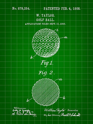 Golf Ball Patent 1906 - Green Poster by Stephen Younts