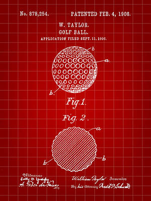 Golf Ball Patent 1906 - Red Poster by Stephen Younts