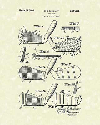 Golf Club 1936 Patent Art Poster by Prior Art Design