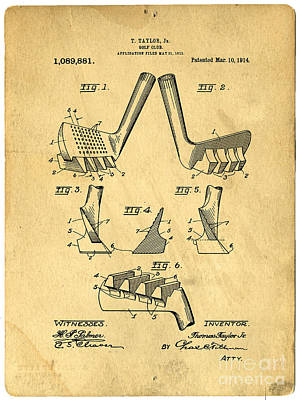 Golf Putter Patent Poster by Edward Fielding