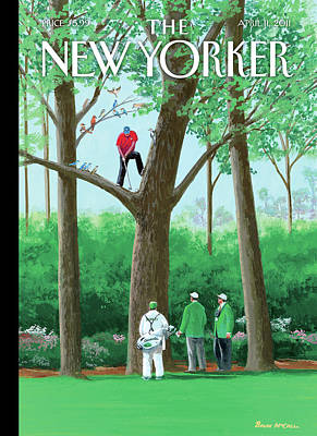 Golfer Making A Shot In A Tree While Different Poster by Bruce McCall