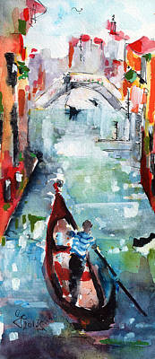Gondola In The Mist Venice Italy Poster by Ginette Callaway