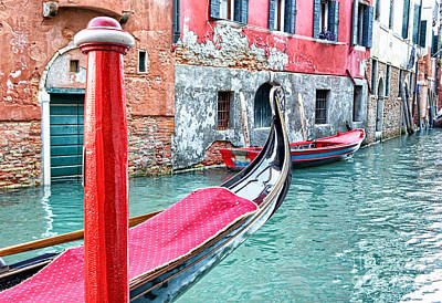 Gondola Moored On A Venetian Canal - Venice Poster by Marzia Giacobbe