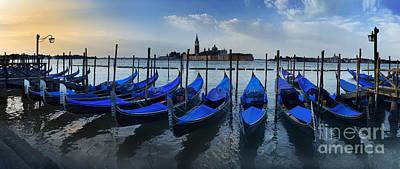 Gondolas And San Giorgio Maggiore By Dawn Poster by Simon Kayne