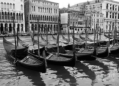 Gondolas In Black Poster by Mel Steinhauer