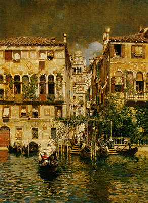 Gondolas Leaving A Residence On The Grand Canal Venice Poster by Rubens Santoro
