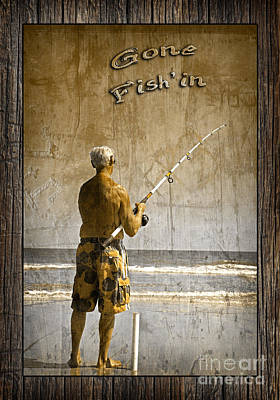Gone Fish'in With Text Rustic Wood Border By John Stephens Poster by John Stephens